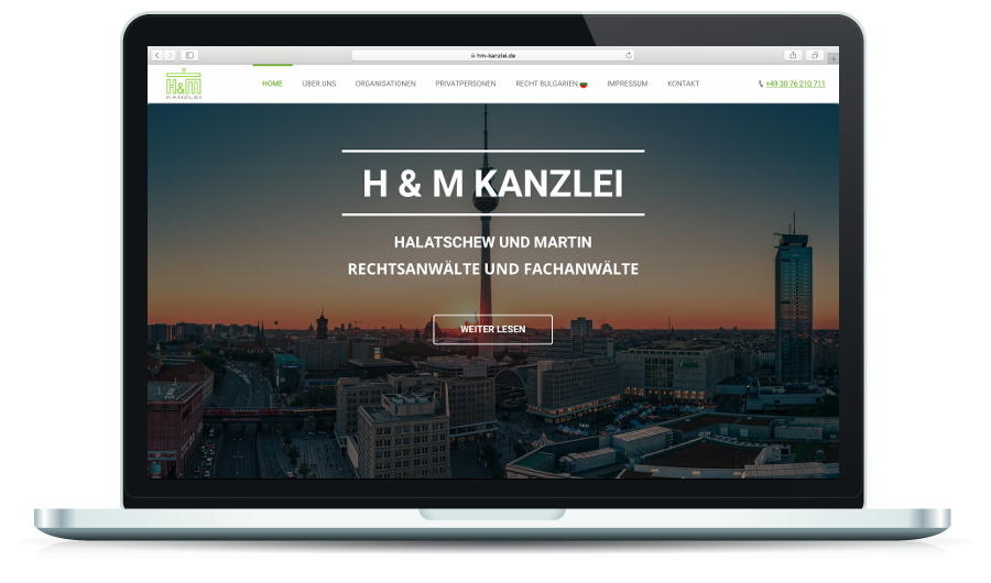 h und m kanzlei berlin appizentrum moderne website. Black Bedroom Furniture Sets. Home Design Ideas